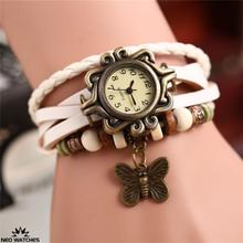 Hot sale Women Lady Multi Colors Leather Retro Vintage Butterfly Weave Wrap High quality  Quartz Wrist Watch Bracelet Watch