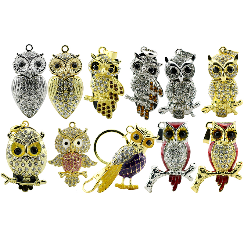 Animal USB Flash Drive Metal Diamond Owl Pendrive Nighthawk Pen Drive 4GB 8GB 16GB 32GB 64GB USB Memory Stick Gift With Necklace 2