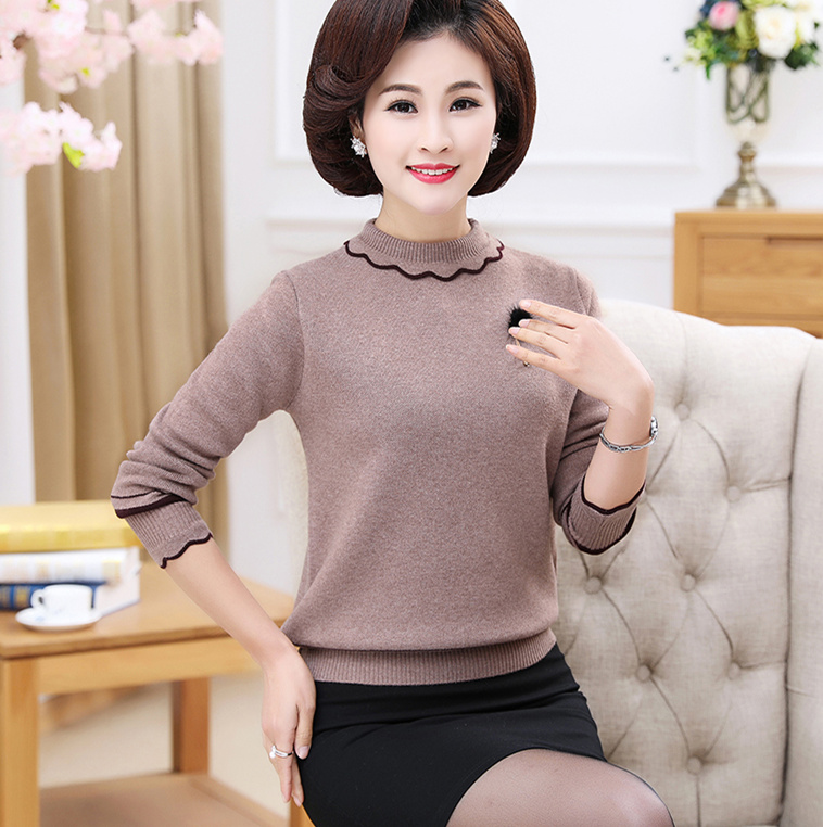 Plus Size Autumn Winter High-End Sweater Women Pullover Wool Blend Sweater Middle-Aged Women Thick Warm Turtleneck Sweater X752