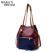 Mara's Dream 2017 Fashion Women Shoulder Bags PU Leather Casual Handbags Hit Color Tassel Brief Korea Bucket Composite Bag