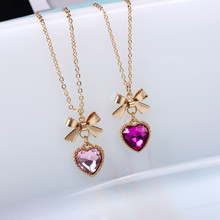 XQ xq 2016 free shippingFashionable woman bowknot semi-precious stones pink purple red heart necklace