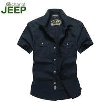 AFS JEEP Chariot Navy Blue/Army Green/Khaki Pure Solid Man's Cotton Shirt Summer 2016 Short Sleeve Military New Design Shirt