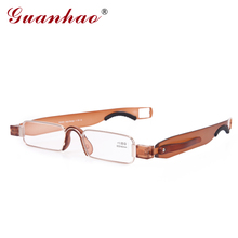 Guanhao Retro Rimless Rotate Folding Reading Glasses TR90 Frame Resin Lens Hyperopia Glasses Portable Eyeglasses with Case(China)