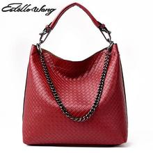 New Handbag Lozenge Ladies Handbag Fashion Knitting  Chain Shoulder Diagonal Cross Bucket Bags Wholesale