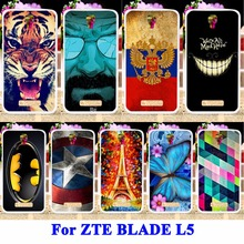 AKABEILA Soft TPU Cell Phone Cases For ZTE BLADE L5 ZTE BLADE L5 Plus Shell Cover Cat Tiger Captain American Batman Painted Bags(China)