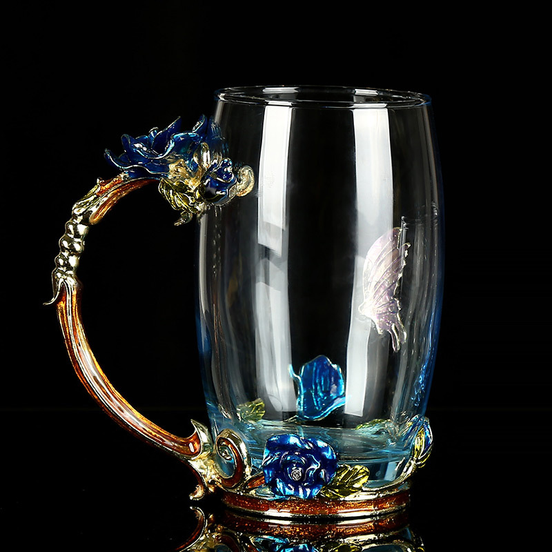 Vintage-Rose-Heat-Resistant-Enamel-Glass-Mug-Flower-Tea-Set-Coffee-Cup-Water-Milk-Coffee-Espresso