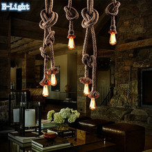 Single / 2 Bulb Creative Personality Rope Pendant Lights Vintage Restaurant Lamp Dining room pendant lamps hemp rope lighting