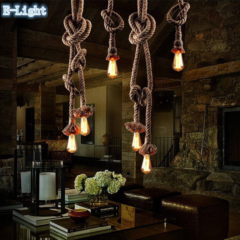 Single Bulb / 2 Bulb Creative Personality Rope Pendant Lights Vintage Restaurant Lamp Dining room pendant lamps hemp rope light<br><br>Aliexpress