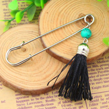 P008-018 Free Shipping 10PC/Lot  fashion girls unique scarf pin jewlery funny beaded black tassel safety pins retailer