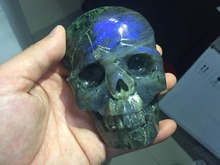 Halloween Decoration or Christmas Ornaments Crystal Skulls-lsk12(350g) Labradoite Skull Craved Healing Reiki Natural Stone(China)