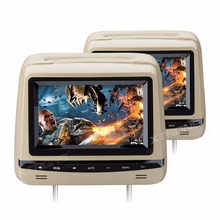 "2x7"" Touch Panel Beige Headrest Car DVD Car Headrest DVD Headrest Monitor DVD with Anti-Theft Detachable Flat Leather Cover"