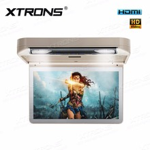 XTRONS 13.3 inch Cream Car Roof mount DVD Drive Player flip down 1080P Video HD Digital TFT Wide Screen Monitor stereo HDMI Port