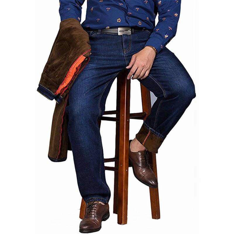 Plus Cashmere Warm Jean Men 2017 New Winter Fashion Cotton Stretch Feet Pants Clothing Business Denim Trousers Big Size 44 46 48Îäåæäà è àêñåññóàðû<br><br>