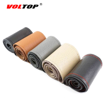 VOLTOP Car Genuine Leather Steering-Wheel Cover Top Layer Leather Steering Wheel Cover Cowhide DIY Auto Interior Accessories 38(China)