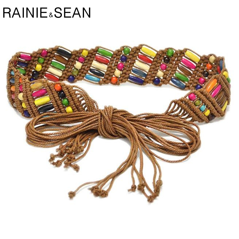 Women Waist Belt Hand Woven Waxed Rope Czech Glass Beaded Buckle Ladies Fashion
