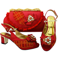 Women Shoes and Bag Set In Italy Latest Red Color Italian Shoes and Bags To Match Shoes with Bag Set Decorated with Appliques(China)