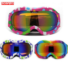 SOARED Snowboard Googles Kids Ski Goggles Gafas Motocross Protective Glasses Gafas Children Skiing Eyewear 3-7 Years Old Childre