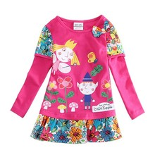Size 2T-8T Ben And Holly Baby Girl Dress  Kids Children Girls Dresses With Long Sleeve Cotton Nova Brand