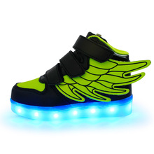 Fashion Wings Children Shoes with Light USB Charging Luminous Colorful LED Shoes Kids Boys Girls High Top Sneakers Casual Shoes