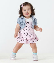 2017 New arrival Popular baby girl clothes sleeveless dress with small heart+short cardigan/New design Free shipping