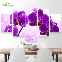 5 Panel New Modern Purple Flower Painting Picture Cuadros Decoracion Canvas Art Wall Decor For Living Room No Frame XY284