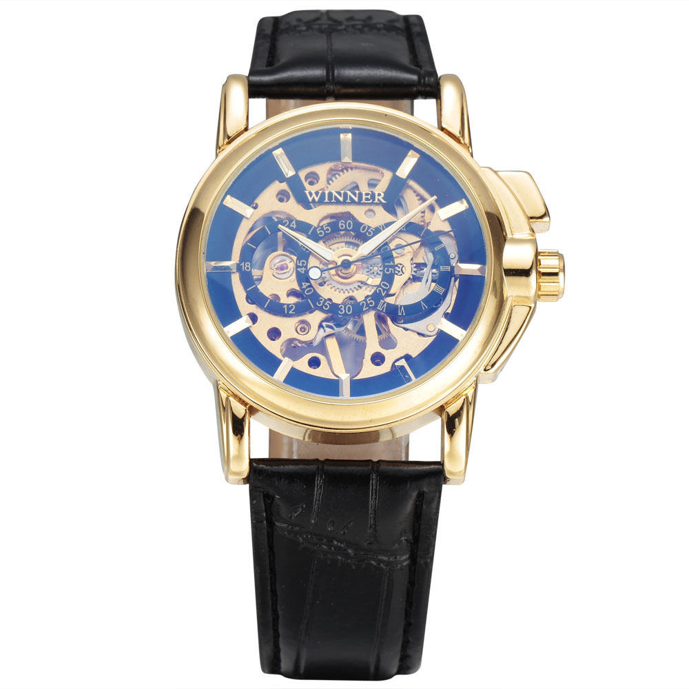 2017 New Winner Fashion Men Mechanical Hand Wind Leather Strap Watches With Gold Carving Skeleton Dial Formal Male Wristwatches<br><br>Aliexpress