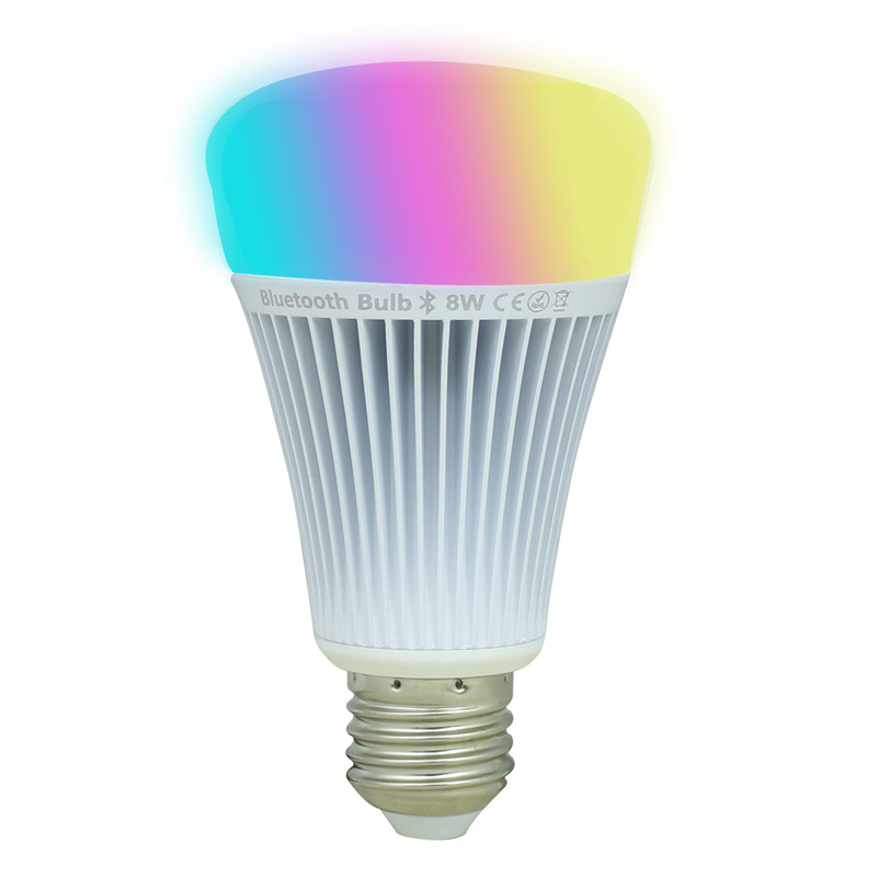 8W E27 Smart LED Light Globe Bulbs RGB+White+Warm White Light Bluetooth Controlled with iPhone,iPad, Android for Home, Office<br><br>Aliexpress