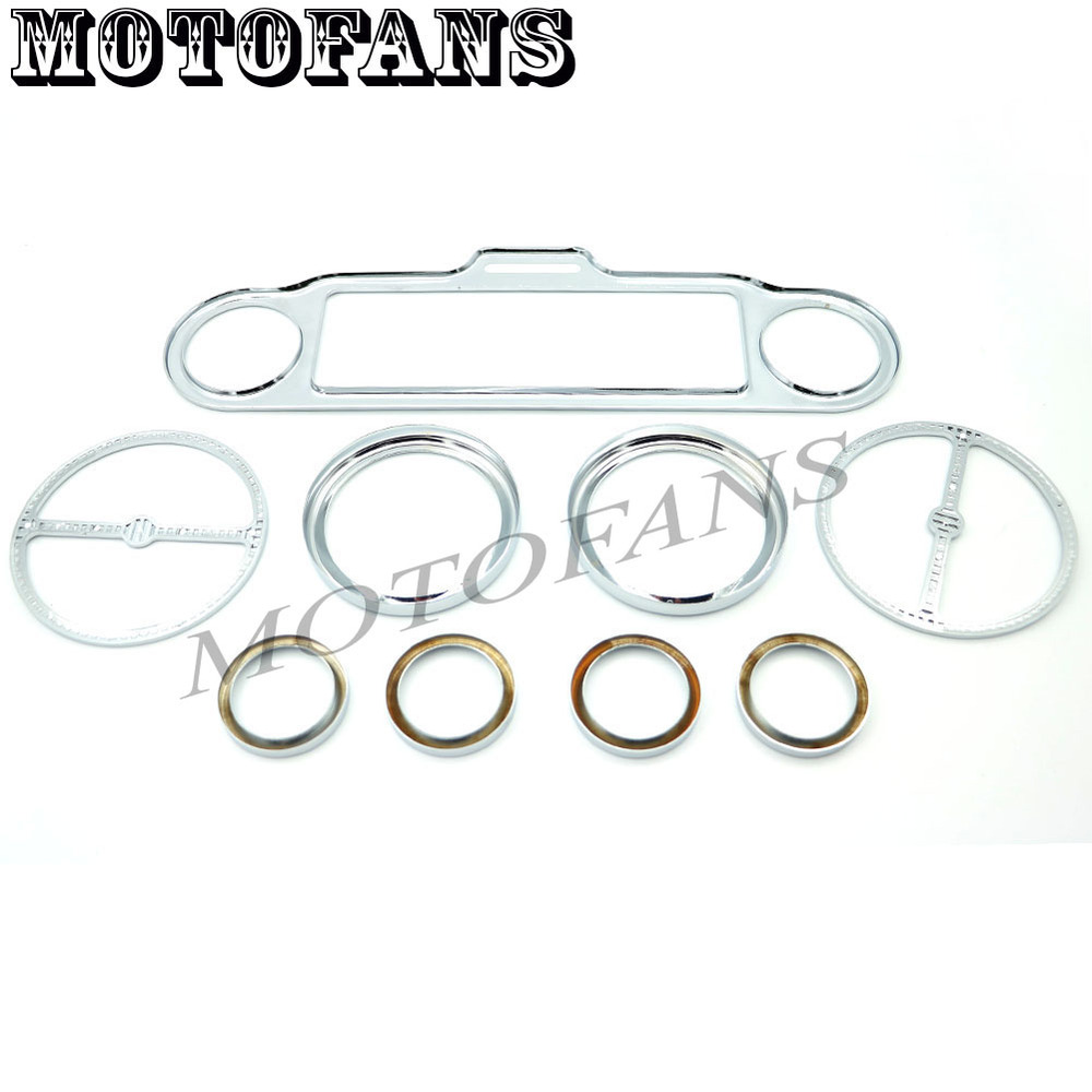 Motofans - 9 Pcs Chrome Stereo Accent Speedometer Speaker Trim Ring Set for Harley Ultra Classic Touring Electra Models 1986-Up<br><br>Aliexpress