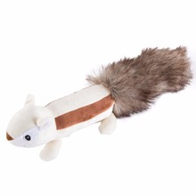 2017 Adorable Vocal Squirrel Skunk Plush Stuffed Pet Toy For Dog Cat Long Tail Lovable Interactive Sounding Plush Toys(China)