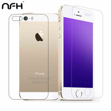 2pcs/lot front+back Tempered Glass For iPhone on 5S 6 6s 7 plus 4 4S Screen Protector Film Full Body Glass On the For iPhone SE