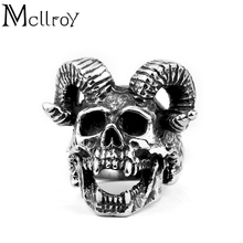Mcllroy Vintage Ring Exaggeration Goat horn&Skull shape Retro style Titanium steel Rings men Jewelry Creative Party Ornaments(China)