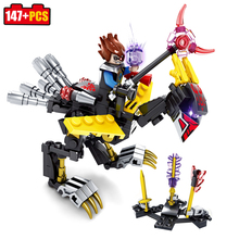 Kazi block 4pcs/set Knights armor Dragon Building Blocks Compatible Legoe city weapon enlighten brick toys for children friends(China)