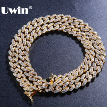 Uwin 9mm Micro Pave Iced CZ Cuban Link Necklaces Chains Gold Color Luxury Bling Bling