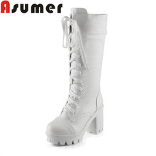 ASUMER 2018 새 도착 플랫폼 (high) 저 (힐 boots 두꺼운 힐 lace up mid calf boots 대 한 women solid simple classic 겨울 boots(China)