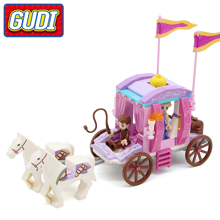 GUDI Alice Princess Royal Carriage Block 142pcs Bricks Model Building Set Educational Toys For Girls