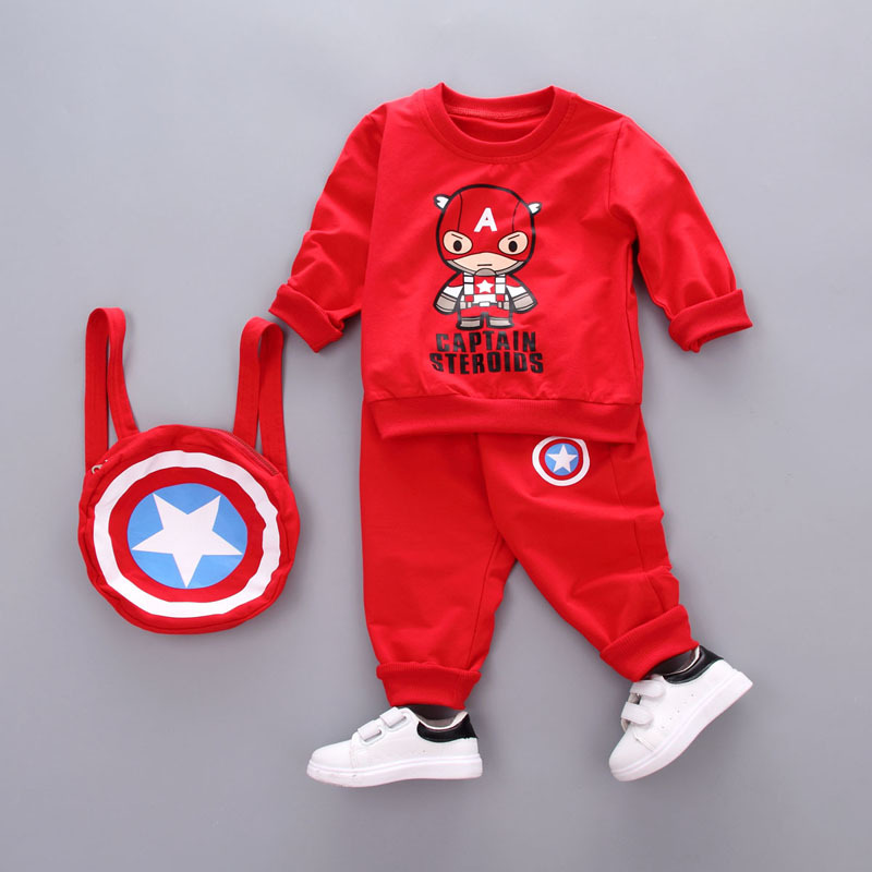 Dapchild 2017 New Boy Sport Suit Sets Captain America With Shield Bag Autumn Long Sleeve Kids Clothes Girls Baby Cool Tracksuit<br>