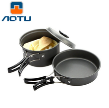 AOTU Outdoor Camping Cooking Set Cookware Non-stick Pots Pans