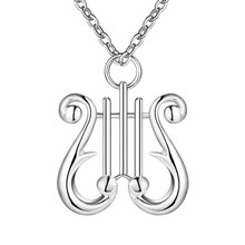 silver Fashion Nice  Musical Instruments Charm Necklace 18inch   Factory Direct Sale18inch rolo CYPRIS jewelry