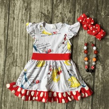 baby girls Summer spring dress children cute polka dot ruffle dress girls boutique cotton dress summer dress with accessories