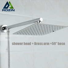 "Bright Chrome Wall Mount 8"" Ultrathin Brass Shower Head + Brass 15"" Shower Arm + 59"" Stainless Steel Hose(China)"