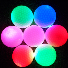 Night indoor outdoor sport funny electronic golf light led flash ball yellow/red/purple/blue glowing in dark practice training
