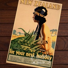 For your next holiday Pop Art New Zealand NZ Vintage Retro Decorative Frame Poster DIY Wall Home Posters Home Decor Gift(China)