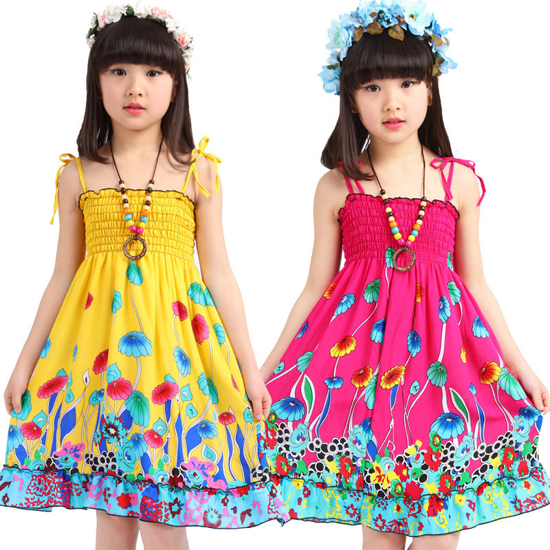 2-7Y Summer Style Flower Girls Dress Baby Boho Cheap Clothes China Vestidos Bohemian Dress Beach Cotton Dresses (No Decoration)(China (Mainland))