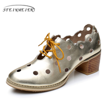 Genuine leather big woman shoes US size 9.5 designer vintage Sandals round toe handmade silver gold 2017 sping oxford shoes