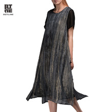 Outline Women Summer Vintage Dress Loose Short Sleeve O-neck Black Split Vestidos Pleated Button Plus Size Party Dress L152Y034(China)