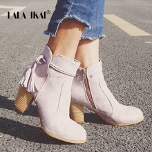 LALA IKAI Platform Fringe Riding Boots Women Round Toe High-heeled Winter Shoes Flock Casual Ankle Boots 014N1356 -3(China)