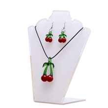 topstore 6pcs Necklace Pendant Jewelry White Acrylic Display Stand Showcase Holder 7.5x5.