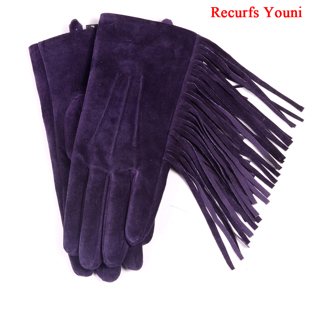 2019 Spring Lady Genuine Leather Pigskin Suede Tassel Short Gloves Women Mujer Nubuck Warm Velvet Punk Show Purple Classic Luvas