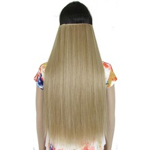 "TOPREETY Heat Resistant Synthetic Hair 24"" 60cm 130g Straight 5 clips on clip in hair Extensions"