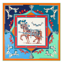 French War Horse Silk Square Scarf Lady's Gift Neck Dress Scarves Fashion and Accessories Big 130x130cm ZSFJ67